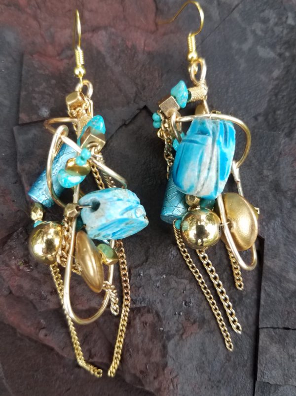 turquoise-gold-glob-earrings