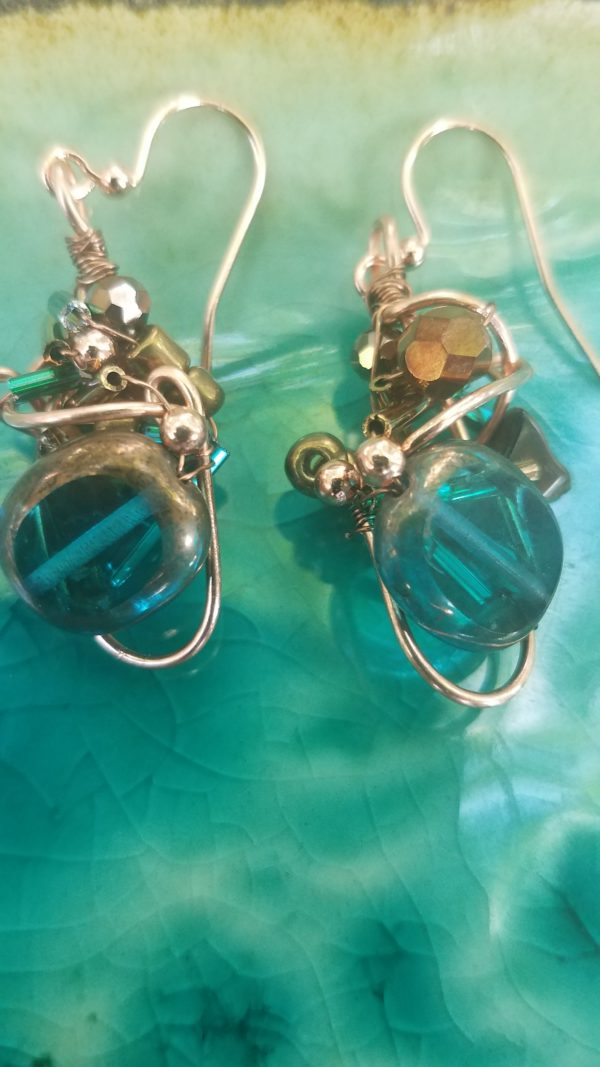 teal-and-bronze-glob-earrings