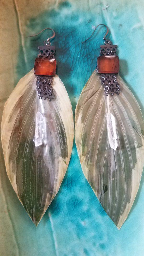 Hosta leaf earrings