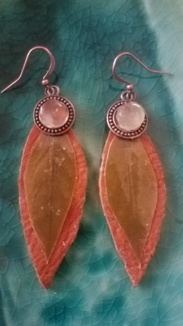 eaf Earrings with Leather Base